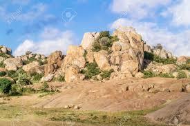 100 Rocky Landscape View At The Picturesque Near Puma In Tanzania Stock