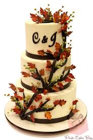 Monogrammed Autumn Wedding Cake Fall Cakes