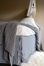 Box Pleat Bed Skirt by Fossil Grey Heavy Weight Rustic Linen Bedskirt Dust Ruffle Valance