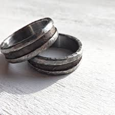 Bronze Wedding Ring Set Rustic Bands Silver Mens