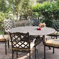 Cast Aluminum Outdoor Sets by Round Table Patio Dining Sets New Darlee Camino Real 7 Piece Cast