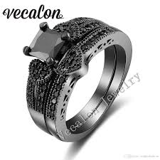 2019 Vecalon Heart Style Women Engagement Wedding Band Ring Set Pink