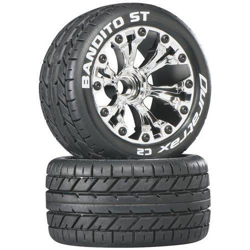 Duratrax Bandito St 2.8 2WD Mounted Rear C2 Tire with Chrome Wheel - 2pc