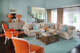 great brown blue and orange living room 33 on image with brown