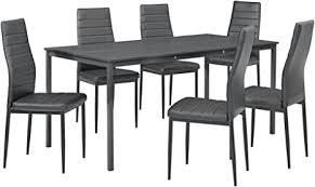 en casa essgruppe für 6 personen esstisch 160cm x 80cm dunkelgrau mit 6 stühlen küchentisch mit esszimmer stuhl