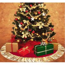 90cm Red Christmas Tree Skirt Golden Edge Xmas Cover Decor New YearS Product Natale Holiday Decorations For Sale
