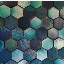 ann sacks fire and earth hexagon ceramic field in blue black