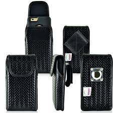 Genuine Leather Basket Weave Vertical Velcro Case 3 Sizes