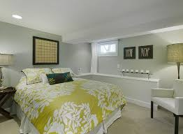 Basement Bedroom With A White Green Design Scheme