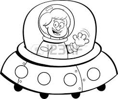 Cartoon Illustration A Girl In A Spaceship Royalty Free