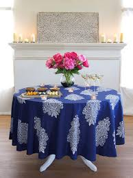 Fitted Outdoor Tablecloth With Umbrella Hole by Navy Blue Round Tablecloth Hats Off America