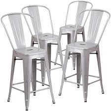 Set Of (4pc) Modern Counter Height Style Stools W/ Back 24