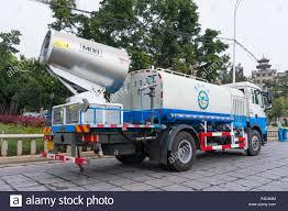 100 Sanitation Truck Xiamen China DEC 31 2017 Fog Artillery Work On