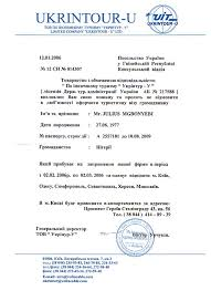 Example of invitation letter and hotel voucher for Ukrainian travel