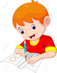 Little Boy Drawing A Piece Paper Royalty Free Cliparts