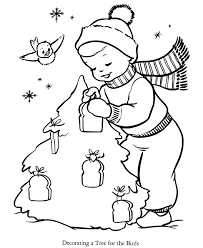 Kids Coloring Pages Of Christmas Tree Decoration With Bread For Birds