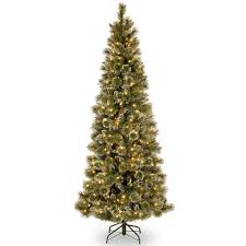 Christmas Tree 75 Pre Lit by 7 5 Ft Pre Lit Hinged Glittery Bristle Pine Slim Artificial