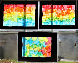 Spring Crafts For Kids Rainbow Art Stained Glass Collages