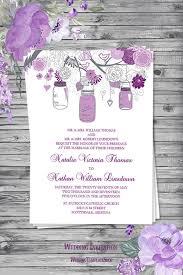 Wedding Invitation Template Rustic Mason Jars Plum Lavender