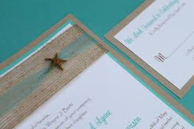 Lovely Blue Beach Wedding Invitations Matched Fresh Ribbon On Brown Coconut Fiber Also Small Invitation Starfish