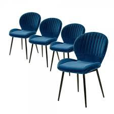 4er set 6002490 blau samt stuhl vierfußstuhl esszimmerstuhl küchenstuhl sessel