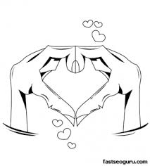 Printable Hands Forming Heart Valentine Day Coloring Page