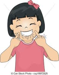 Girl Gesturing A Smile Vector