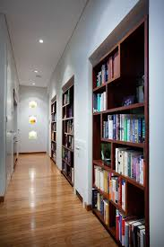 Rustic Built In Bookshelves Hall Contemporary With Design Hallway Bookcases