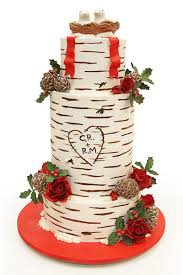 Holiday Christmas Birch Wedding Cake