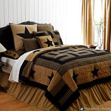 Red Brown Rustic Western Country Star Twin Queen Cal King Quilt Bedding Set