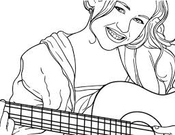 Miley Playing Guitar In Hannah Montana Coloring Page
