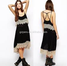 long black spaghetti strap cotton dress with ruffles scallop lace