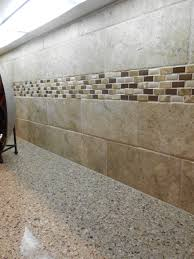 American Olean Glass Tile Trim by Natural Stone Subway With Natural Stone Accent Strip Simple