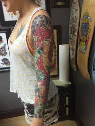 The Arm Sleeve Took About 12 Hours To Complete Spread Over Four Sessions Thigh Tattoo Inked By Cat At Dark Moth Collective A Bit Longer