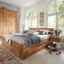 pharao24 doppelbett aus wildeiche massivholz bettkasten