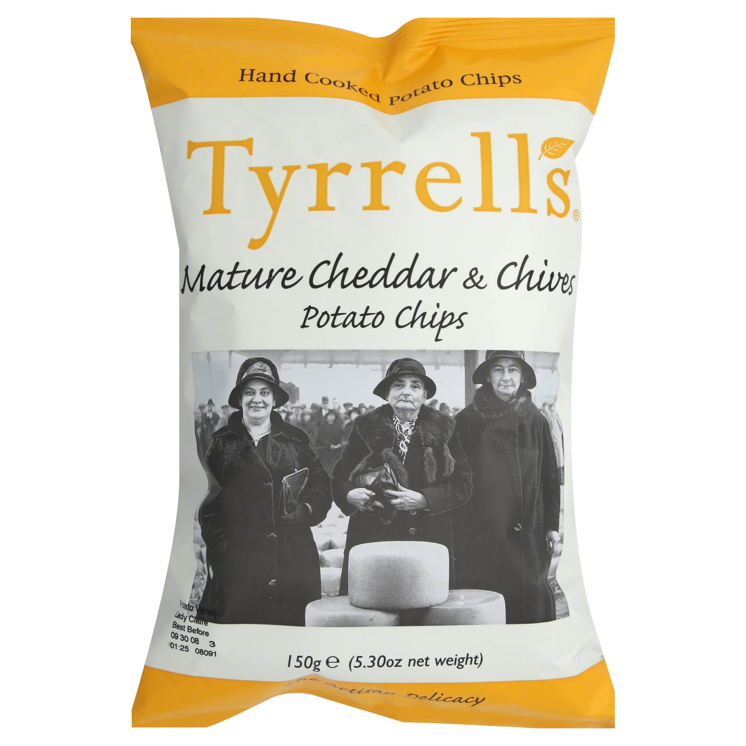 Tyrrells Hand Cooked English Crisps - Mature Cheddar and Chive, 150g