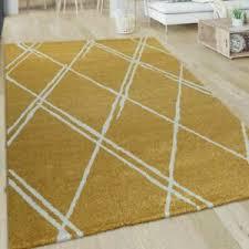 details zu wohnzimmer teppich kurzflor mit skandi design und rauten muster in weiß gelb
