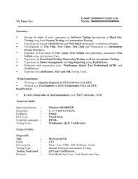 Performance Testing Resume Loadrunner Environmental Test Engineer Sample 10 20 Qtp Load
