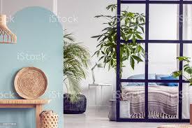 urbaner dschungel im hellen weißen und blauen schlafzimmerinterieur mit trennwand stockfoto und mehr bilder aufgeräumter raum