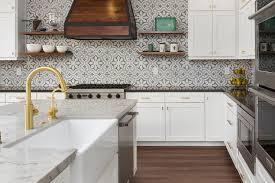 blue and gray quatrefoil cement tiles transitional kitchen