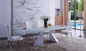 ESF 992 DT 6138 White Dining Table Set 5P Eco Leather Chair Made In Italy Modern