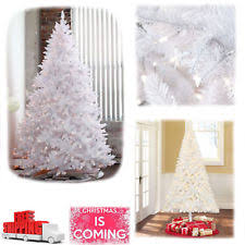 65Ft Pre Lit White Artificial Christmas Tree Fir Madison Pine Clear Light Stand