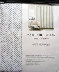tommy hilfiger fabric shower curtain gray herringbone pattern
