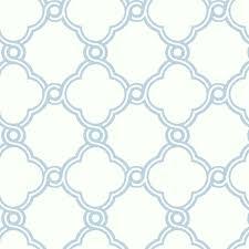 light blue with white open trellis wallpaper
