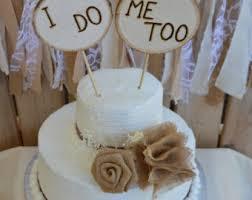 Rustic Cake Topper Wedding Burlap Wood