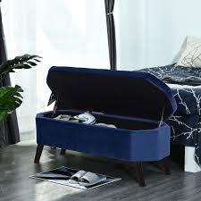 homcom sitzbank sitztruhe bettbank schuhbank 2 in 1 erhöhte beine samt dunkelblau 117 x 46 5 x 45 cm