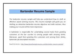 Bartender Resume Examples Sample Skills