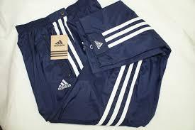 adidas navy blue yellow tearaway warmup workout training pants