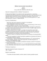 Medical Transcription Resume Examples Refrence Sample For Experienced Transcriptionist New