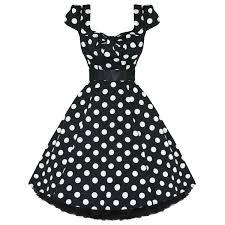 Ladies Womens New Black White Polka Dot 50s Rockabilly Swing Party Prom Dress